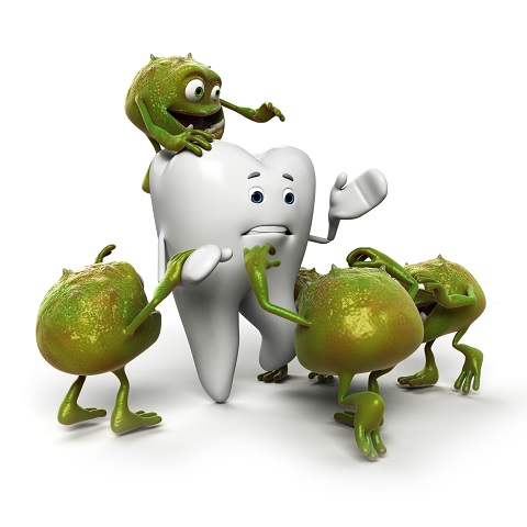 Bad bacteria surrounding a tooth