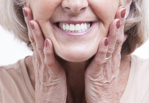 An older lady with dentures that look great