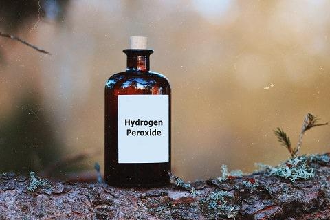 Hydrogen Peroxide in a brown glass bottle