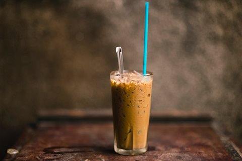 A cold ice coffee