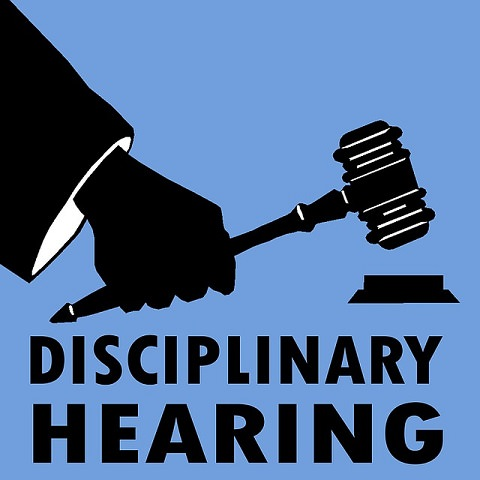A disciplinary hearing by a judge