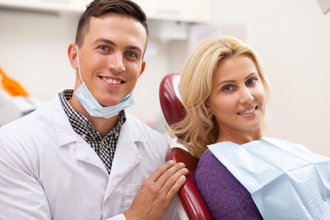 A lady at the dentist