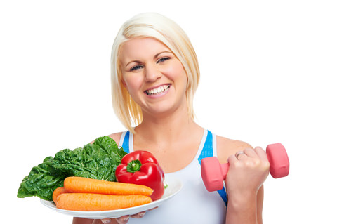 A lady who has chosen healthy food and exercise