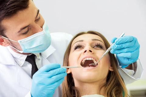 A dentist assessing a patients bite