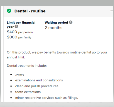 Screenshot of AHM minor dental cover
