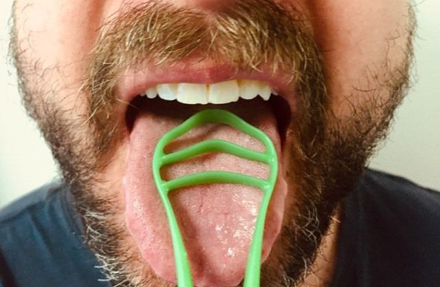 testing the GOOD™ Tongue Cleaner