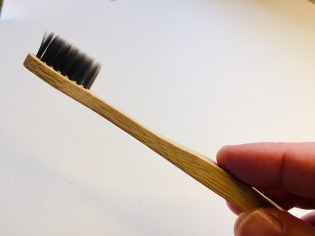 Testing the bamboo charcoal toothbrush