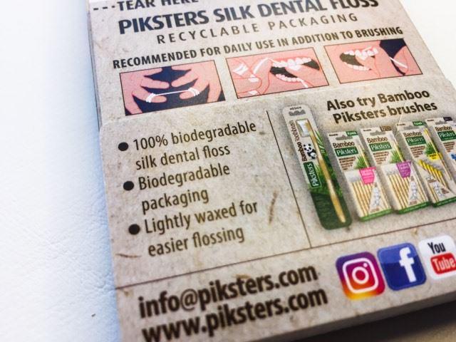 Piksters Natural Silk Dental Floss back of pack