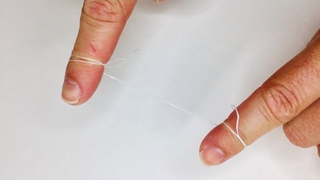 Wrapping the silk floss around my fingers