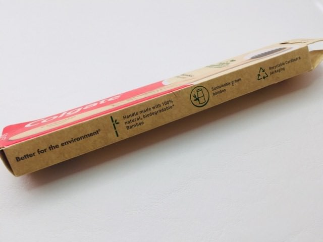Side of pack for the colgate bamboo charcoal toothbrush