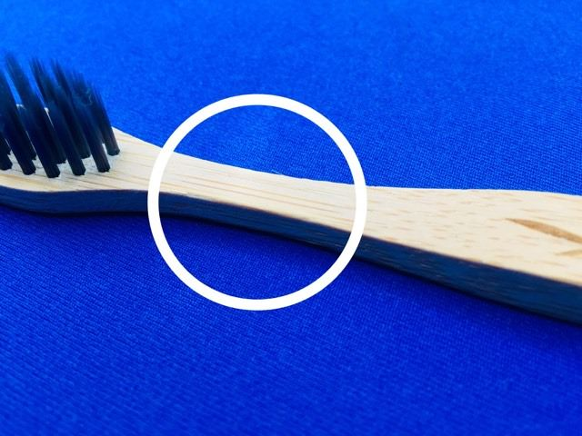 Splinter found on the bamboo charcoal toothbrush by colgate