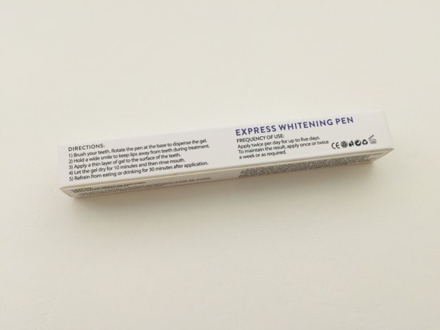 The instructions on the pearly white pen