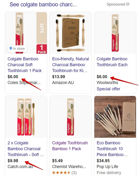 Google shopping pricing for the colgate bamboo charcoal toothbrush