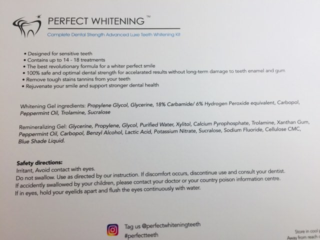 Back of the Perfect Whitening Kit
