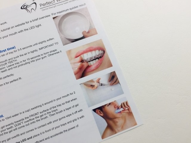Images used on the perfect whitening kit instruction pamphlet