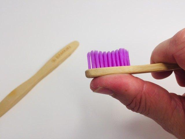 The head of the bamkiki bamboo toothbrush