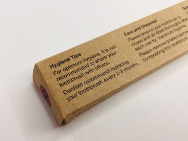 Hygiene tips on the packaging of the Bamkiki Bamboo toothbrush packaging
