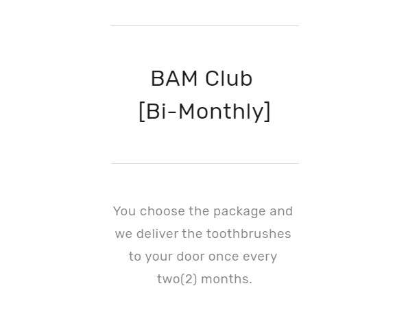 Bi-Monthly subscription plan by bamkiki bamboo toothbrushes