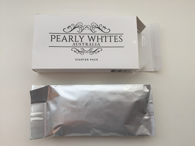 Pearly Whites with its contents protected in a sealed packaging