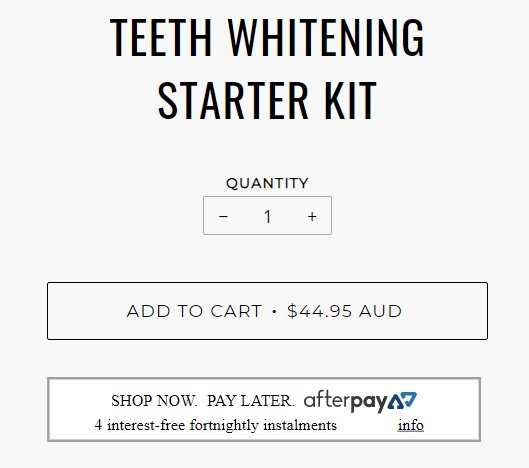 Pearly Whites Starter kit pricing screenshot