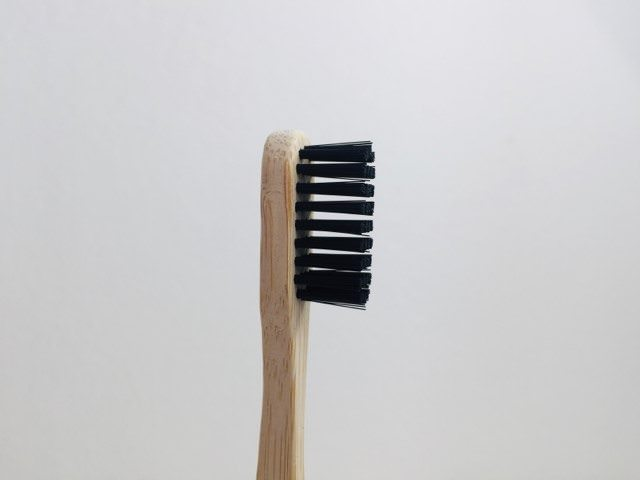 a closer look at the bristles and head of the kappi toothbrush