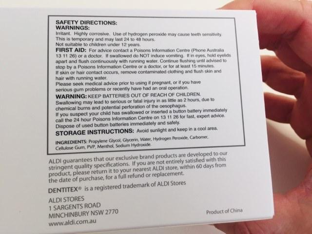 General information including ingredients on the Dentitex kit