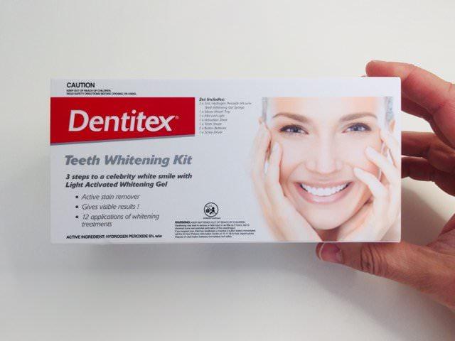holding the Aldi dentitex teeth whitening kit