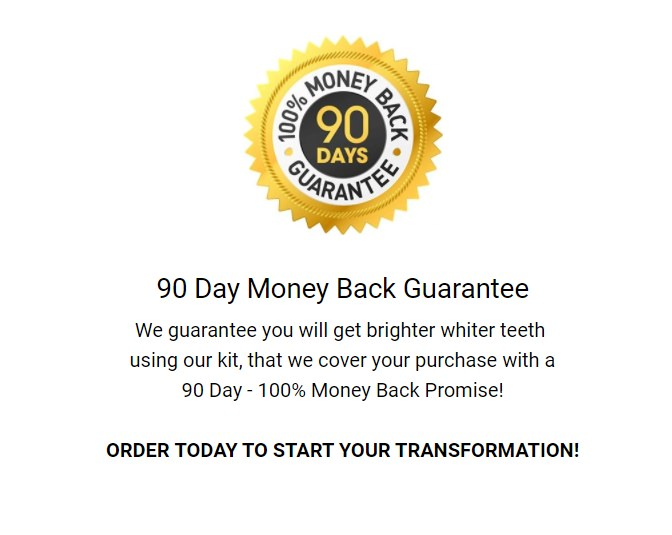 90 day money back guarantee by Smile Bright White