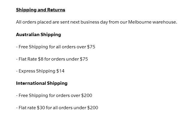 Shipping details for kappi products