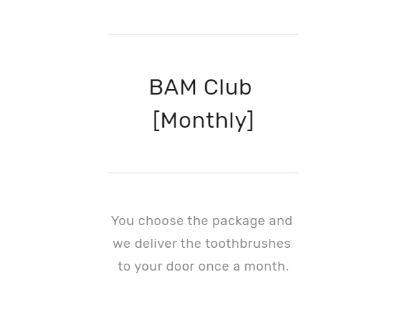 BAM Club monthly subscription