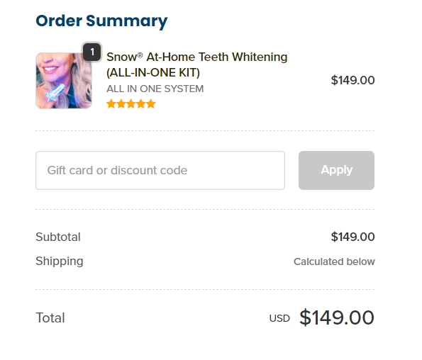 Order summary for my Snow Teeth Whitening System