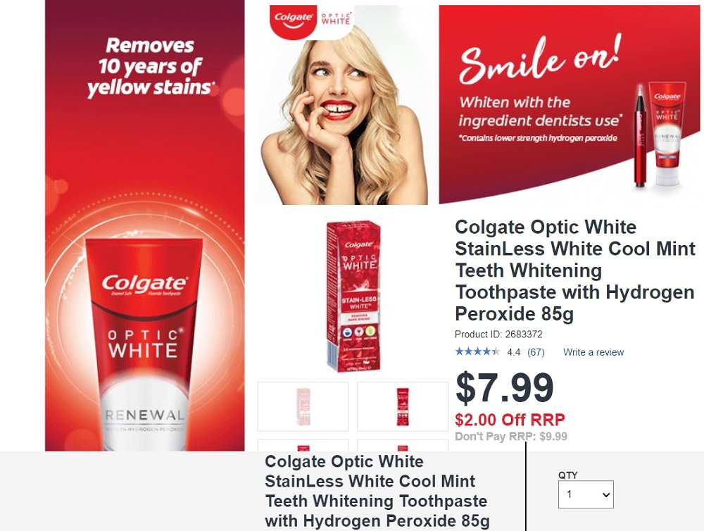 Colgate Optic White StainLess White Cool Mint Teeth Whitening Toothpaste with Hydrogen Peroxide 85g screenshot from Chemist Warehouse