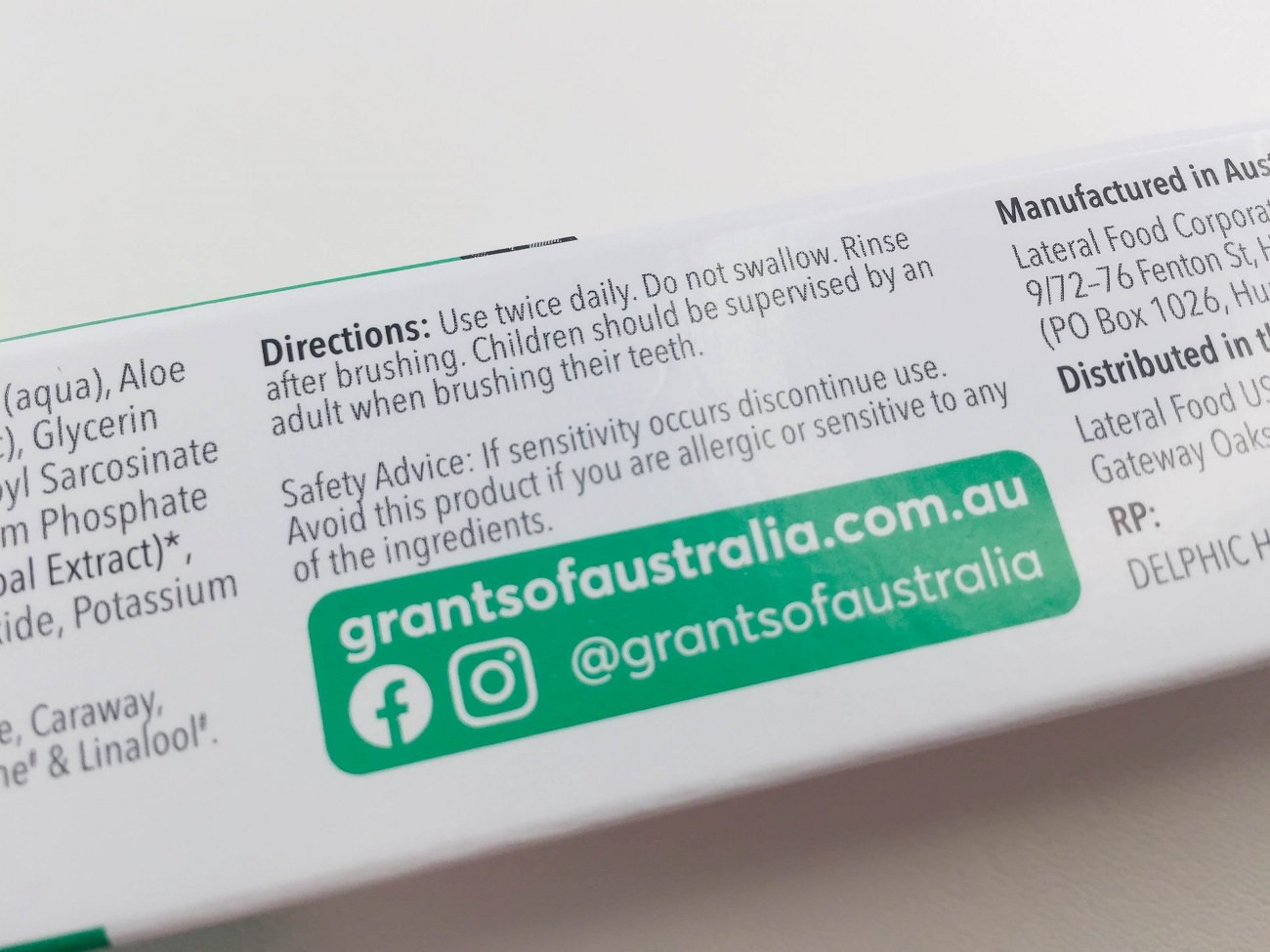 Directions for use with Grants Mild Mint toothpaste