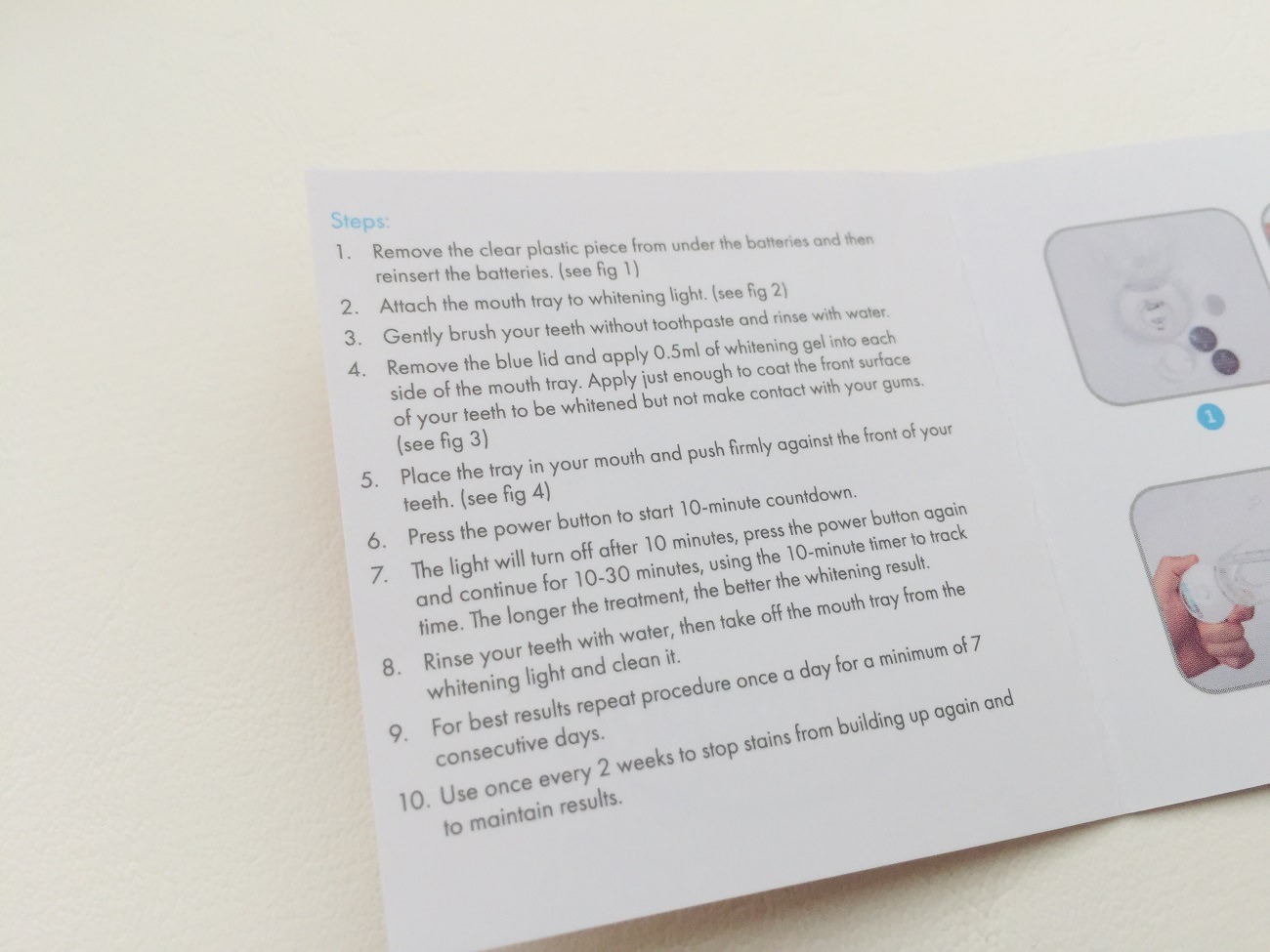 All the 10 instruction steps by SmilePro in their kit