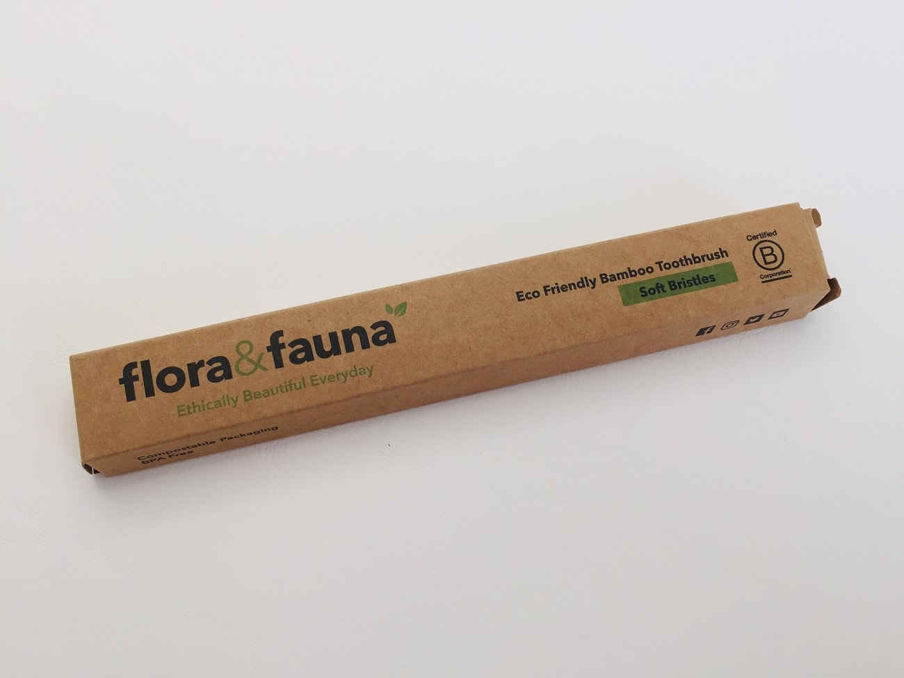 The Flora & Fauna Bamboo Toothbrush recyclable packaging