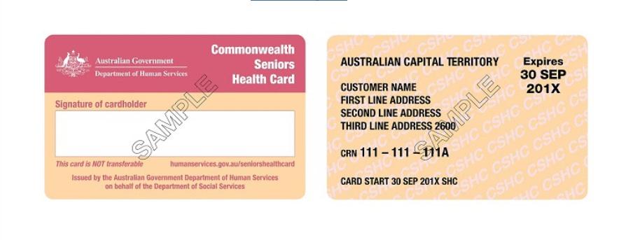Commonwealth Seniors Health Card sample