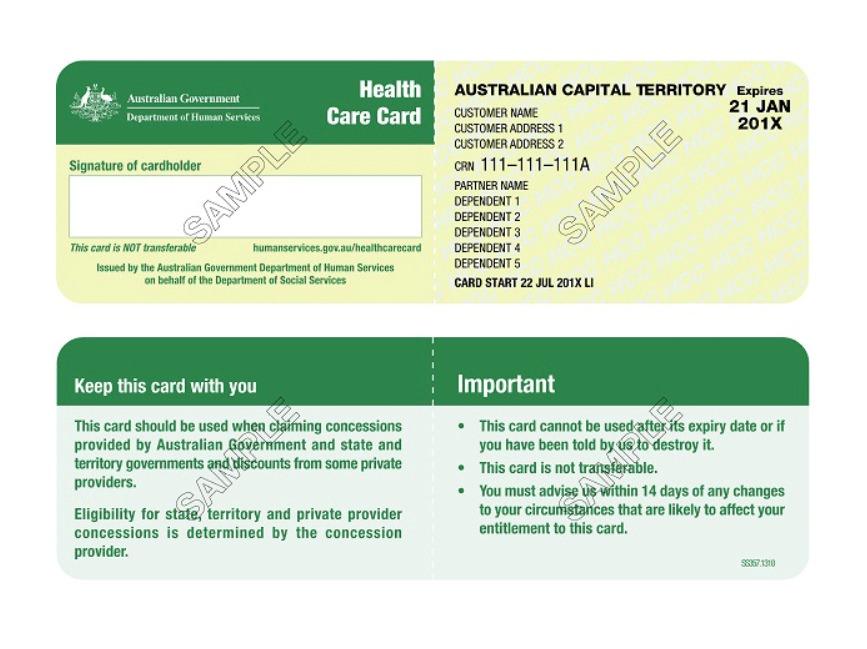 Sample of an Australian Health Card Card