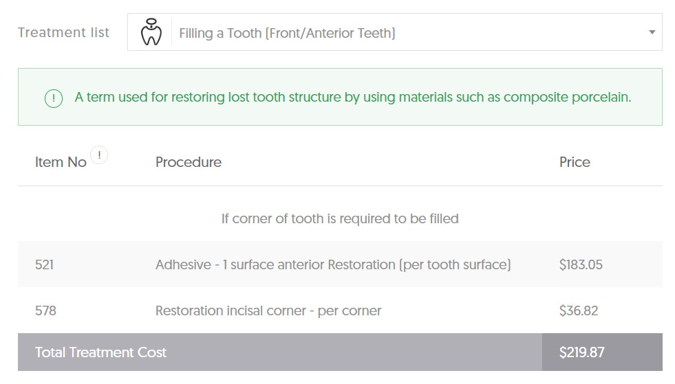 ACT dental filling average cost front tooth