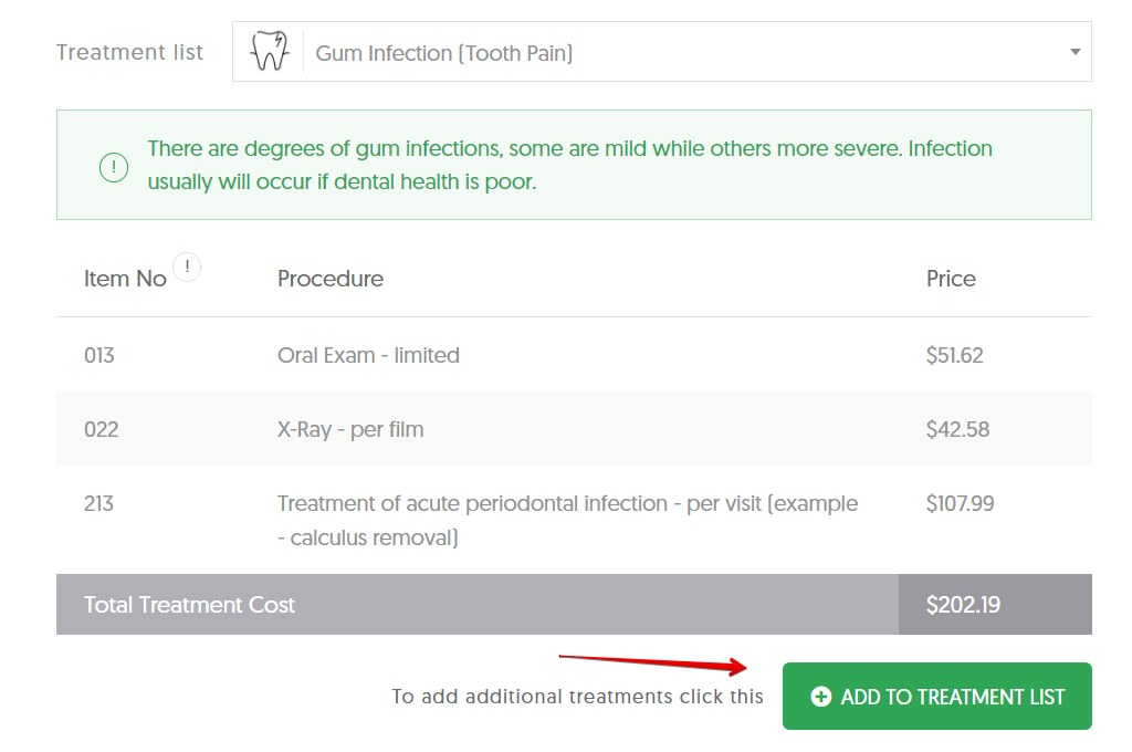 Dental Cost Calculator add to treatment list
