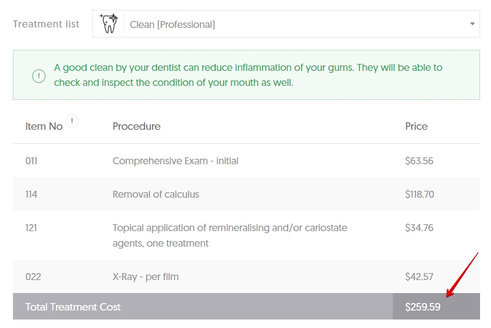 Average cost of a dental clean in QLD