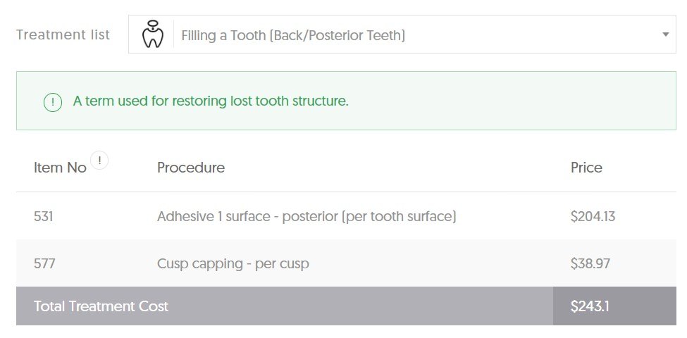 ACT Dental Cost filling back teeth