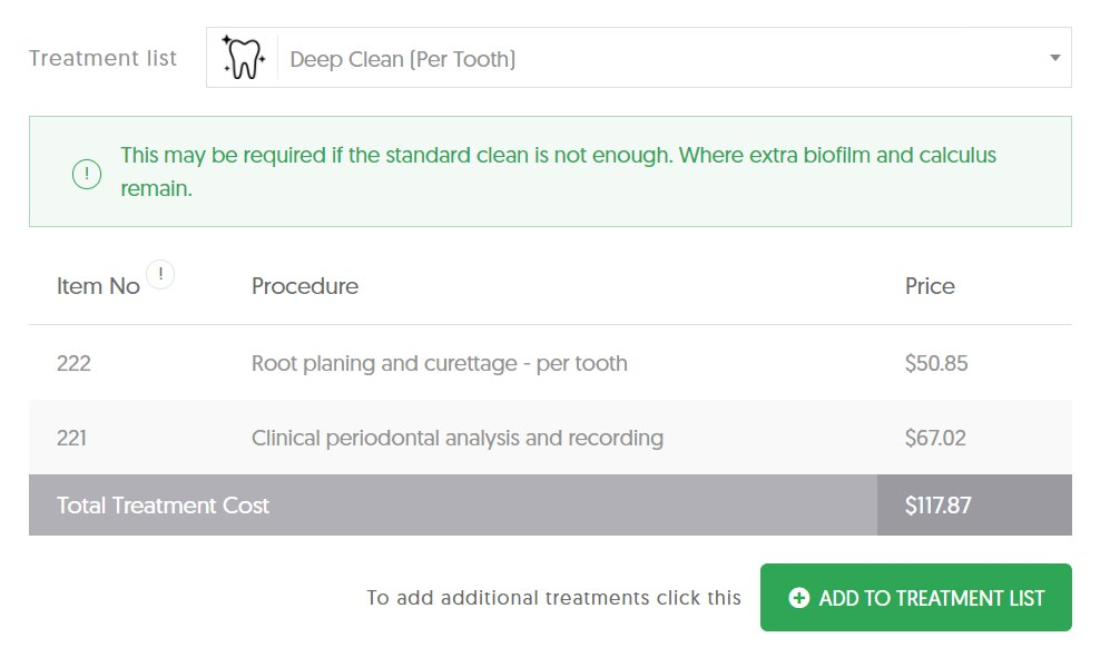 Deep clean per tooth cost in QLD