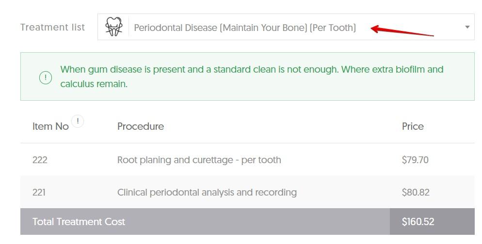 NT gum disease average cost