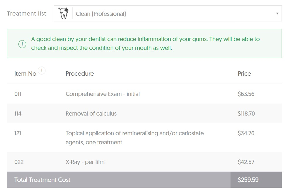 QLD dental Teeth Cleaning Costs