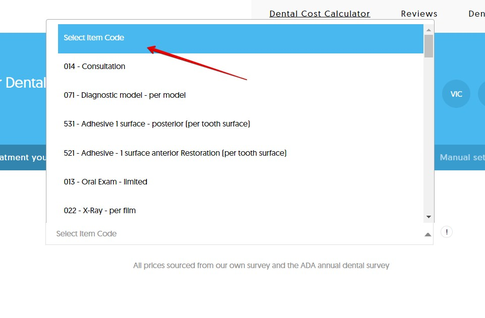 Selecting an item code for dental costs in australia