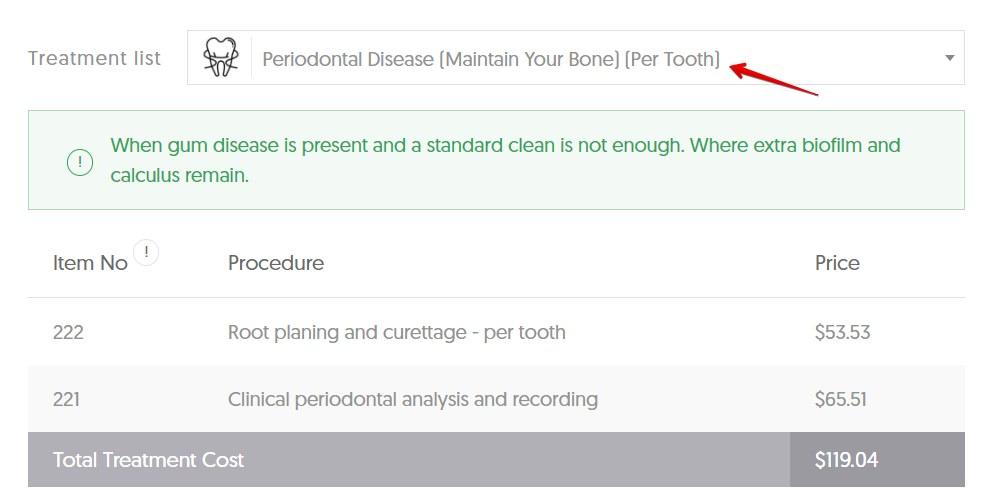 TAS gum disease average cost