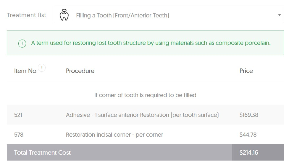 TAS Dental Filling Average Cost - Front Tooth