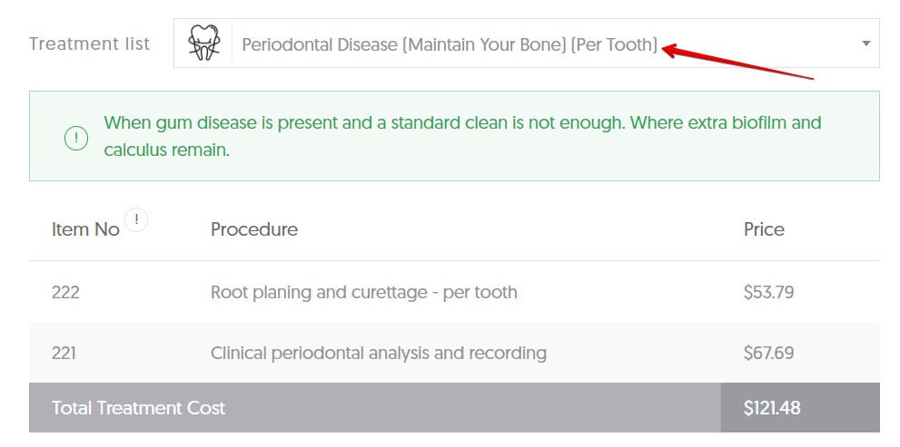 VIC gum disease average cost
