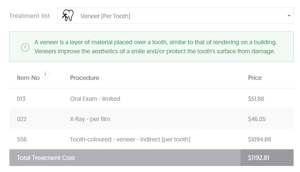 WA Veneer Costs - Per Tooth