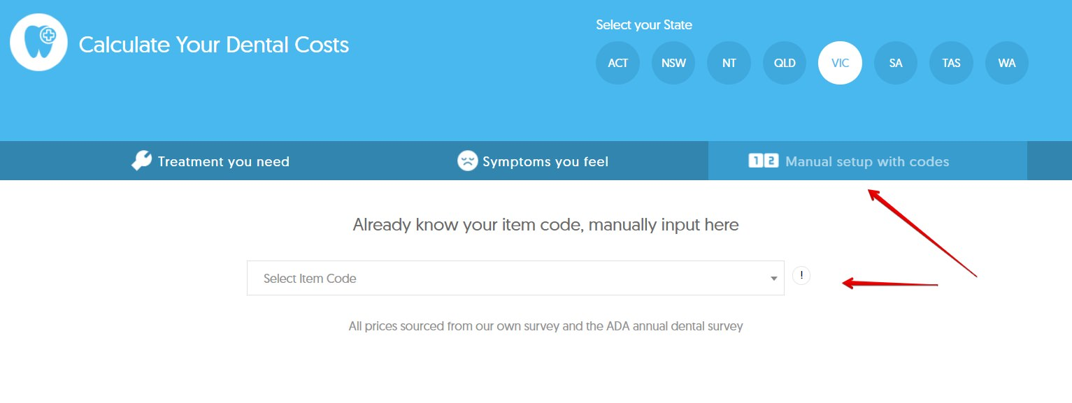 item codes for dental cost calculator